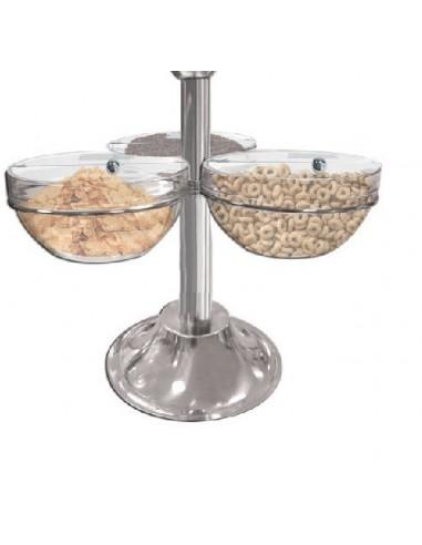 Porta Cereali con 3 Ciotole in Vetro...