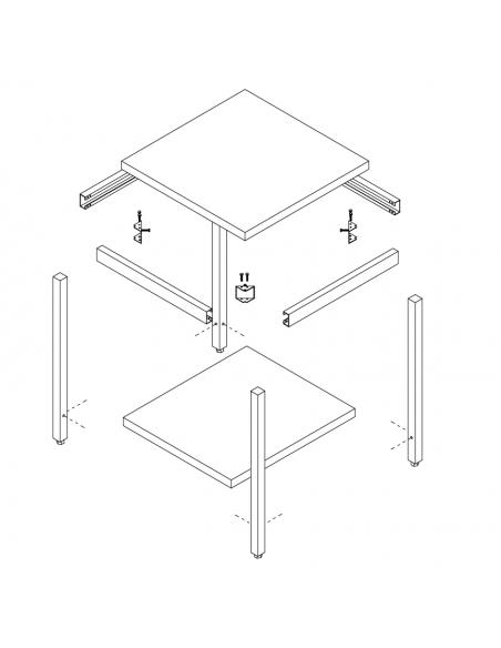 Tavolo Inox - Alzatina + Ripiano - cm 80x60x85/90h - ETGE8/6AR